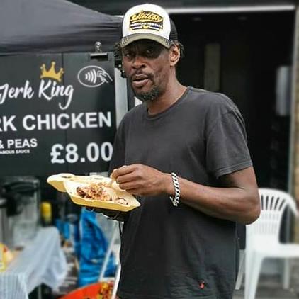 Massive Attack's Daddy G at Bristol Harbour Festival having some Jerk chicken, rice & peas