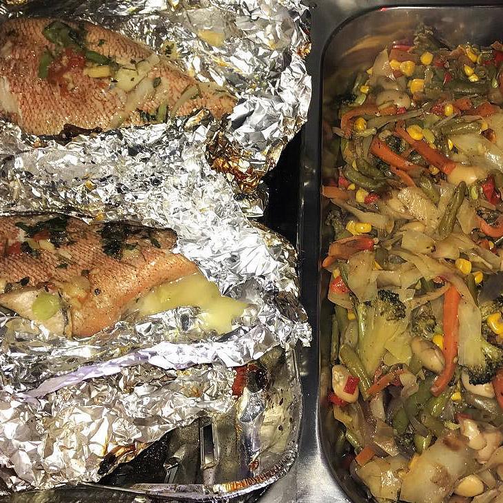 Jerk steamed fish and Jerk veg