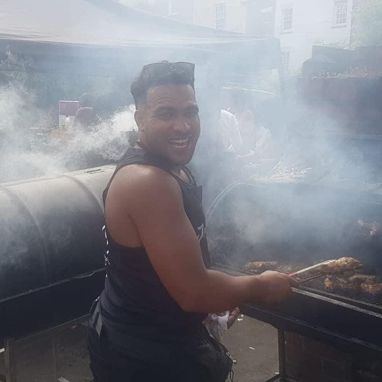 Cooking up Jerk at St Pauls Carnival