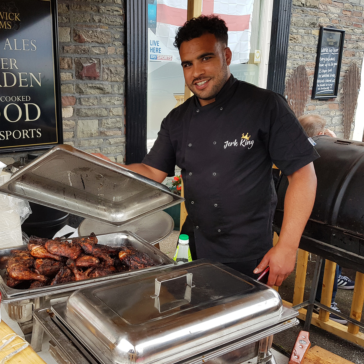 Serving our nicely-spicy, authentic Jerk chicken at the Warwick Arms, Charlton Rd, Bristol